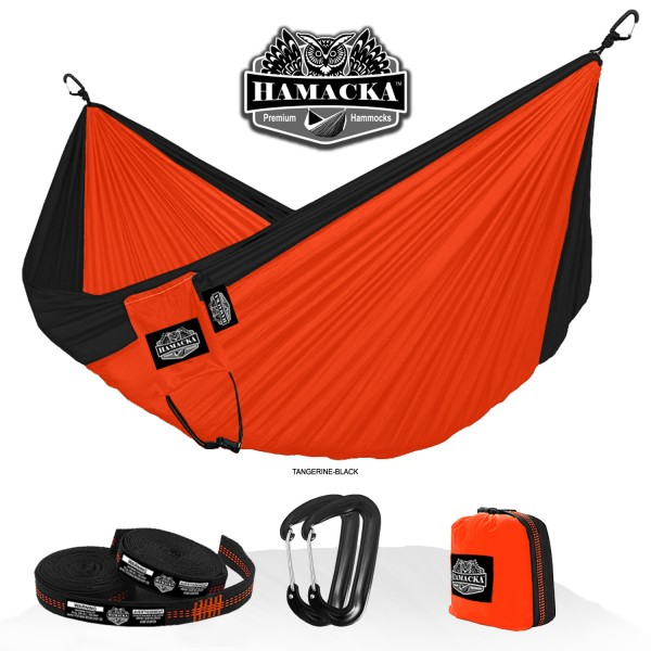TRAVEL HAMMOCK SET (TANGERINE-BLACK)